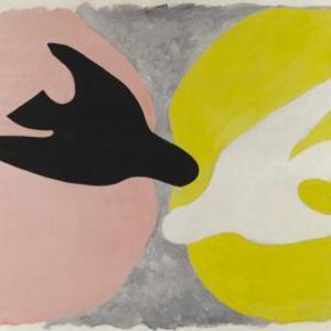 Georges Braque, L'oiseau noir et l'oiseau blanc,1960, Huile sur toile, 134 x 167,5 cm, Paris © Leiris SAS Paris © Adagp, Paris 2013